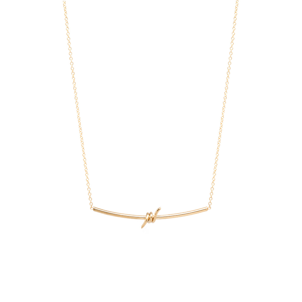 14k barbed wire bar necklace