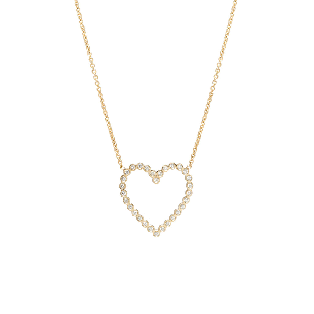 14k bezel diamond heart necklace