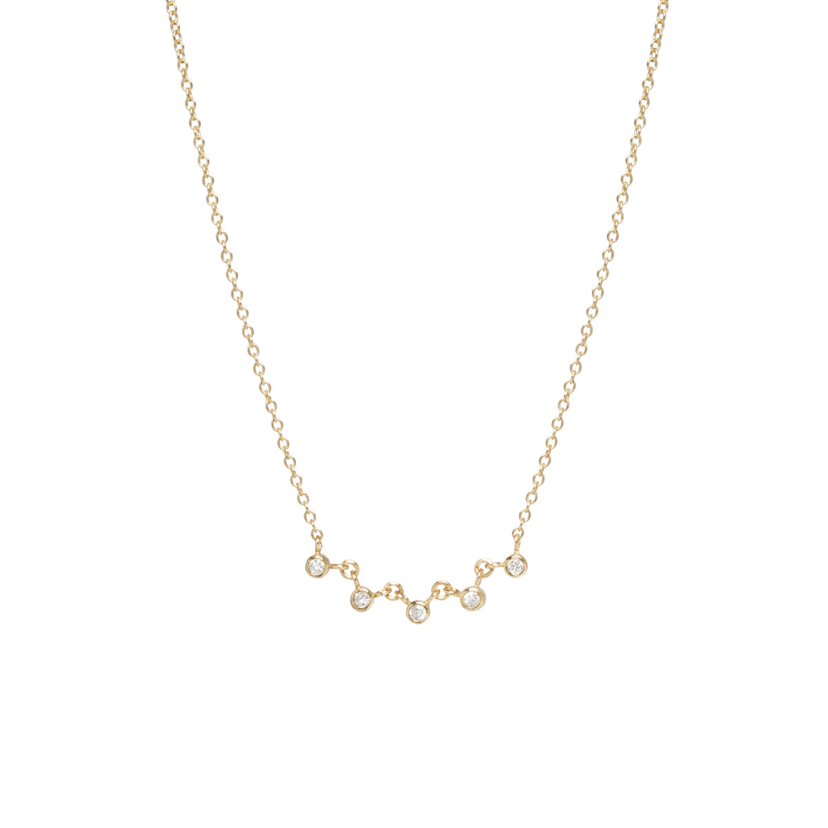 14k linked 5 bezel diamond necklace