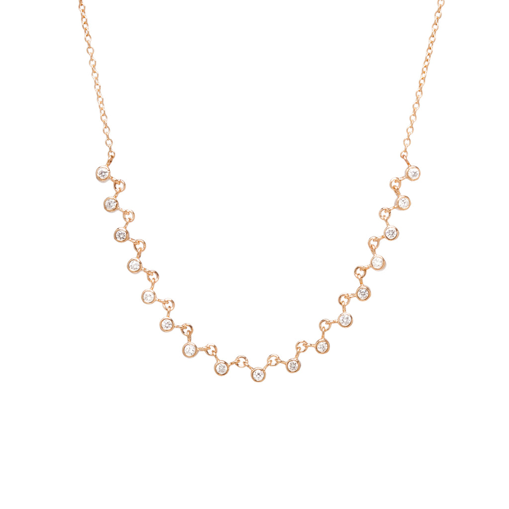 14k linked 17 bezel diamond necklace