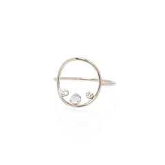 14k prong set opal & diamond medium circle ring