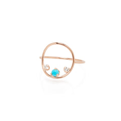 14k prong set turquoise & diamond medium circle ring