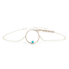 14k prong set turquoise medium circle bracelet