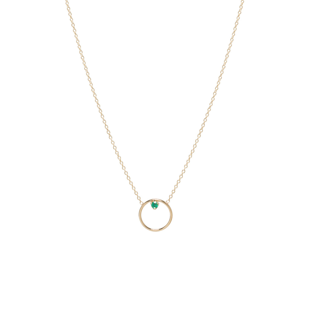 14k circle prong emerald necklace