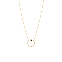 14k circle prong black diamond necklace