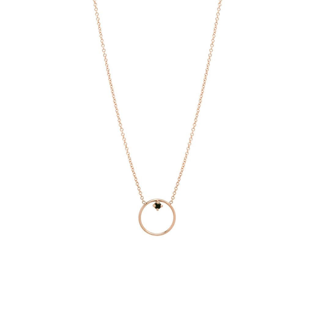 14k circle prong black diamond necklace | IN STOCK