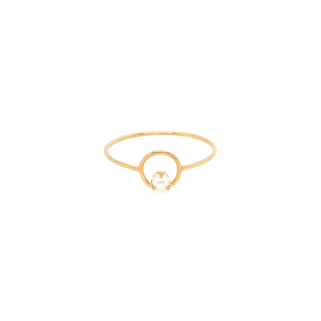 14k circle tiny pearl ring