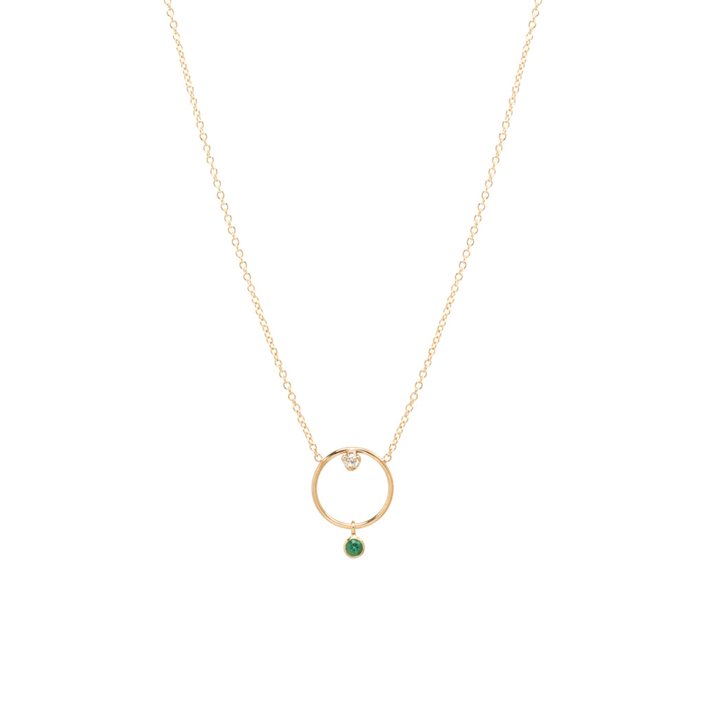 14k medium circle necklace with diamond and emerald