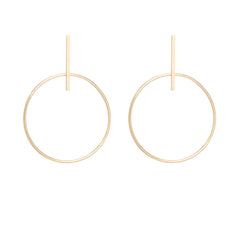 14k large circle and bar post earrings