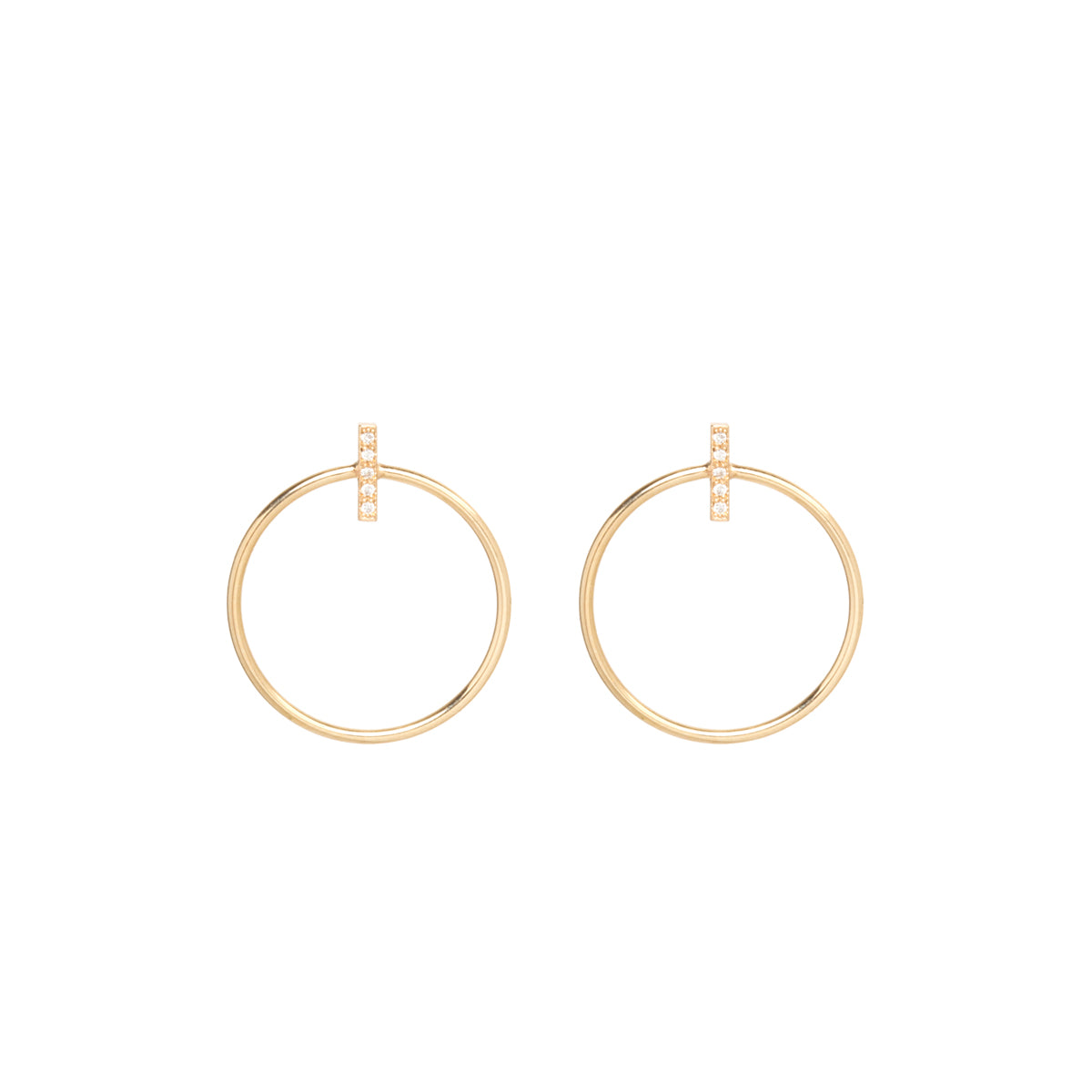 14k medium circle and pave diamond bar post earrings