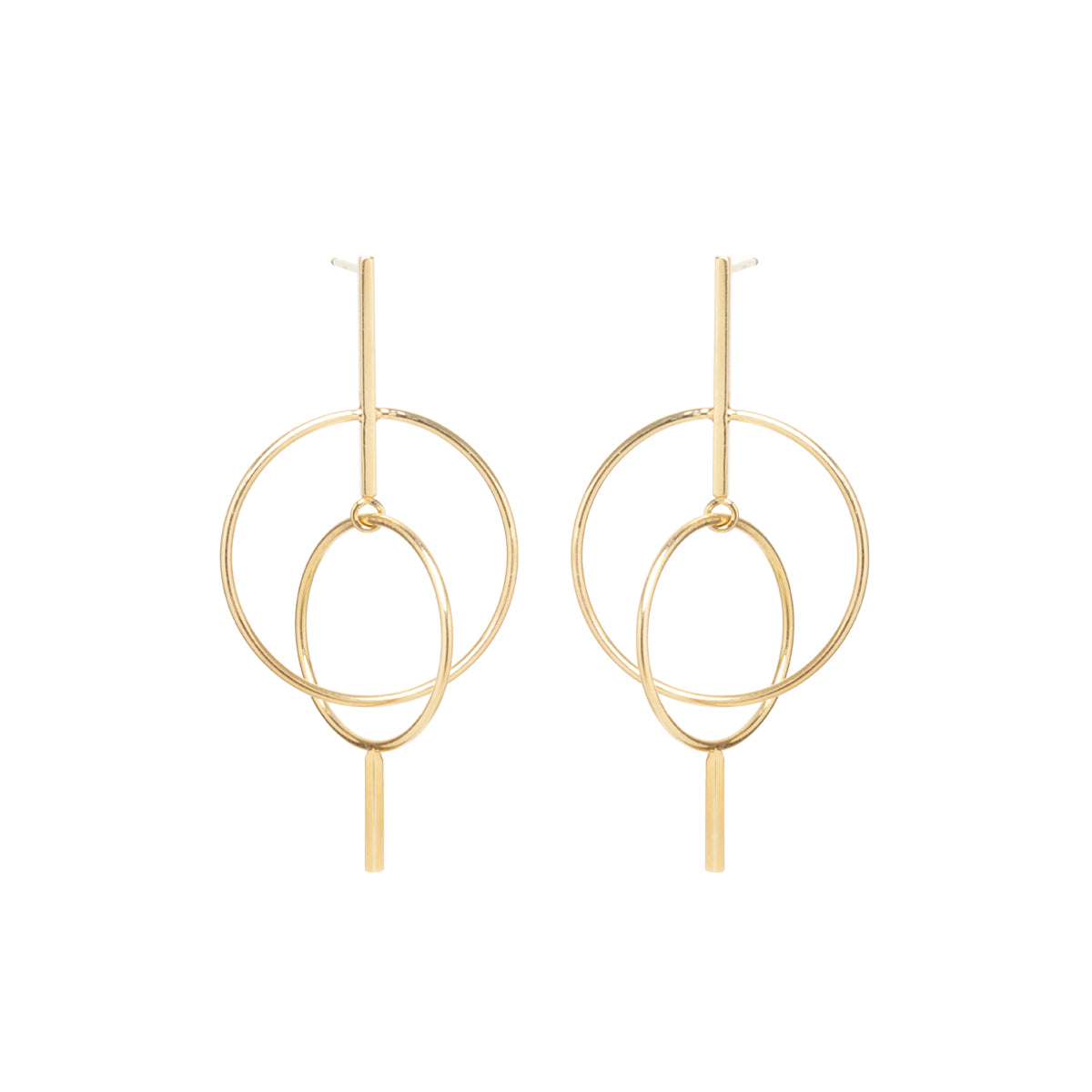 14k long mixed bar and floating circle earrings
