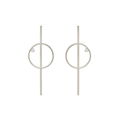 14k long bar and circle post earring with prong diamond