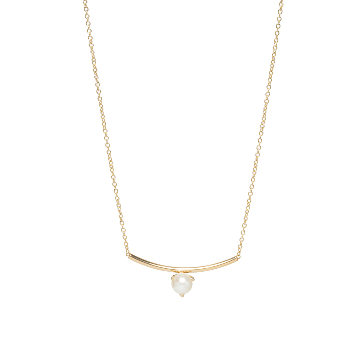 14k pearl curved bar necklace