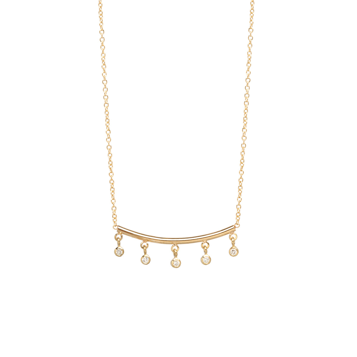 14k dangling bezel diamond bar necklace