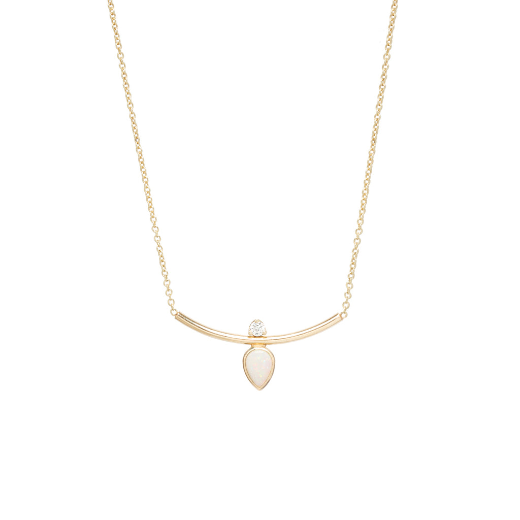 14k pear opal & diamond curved bar necklace