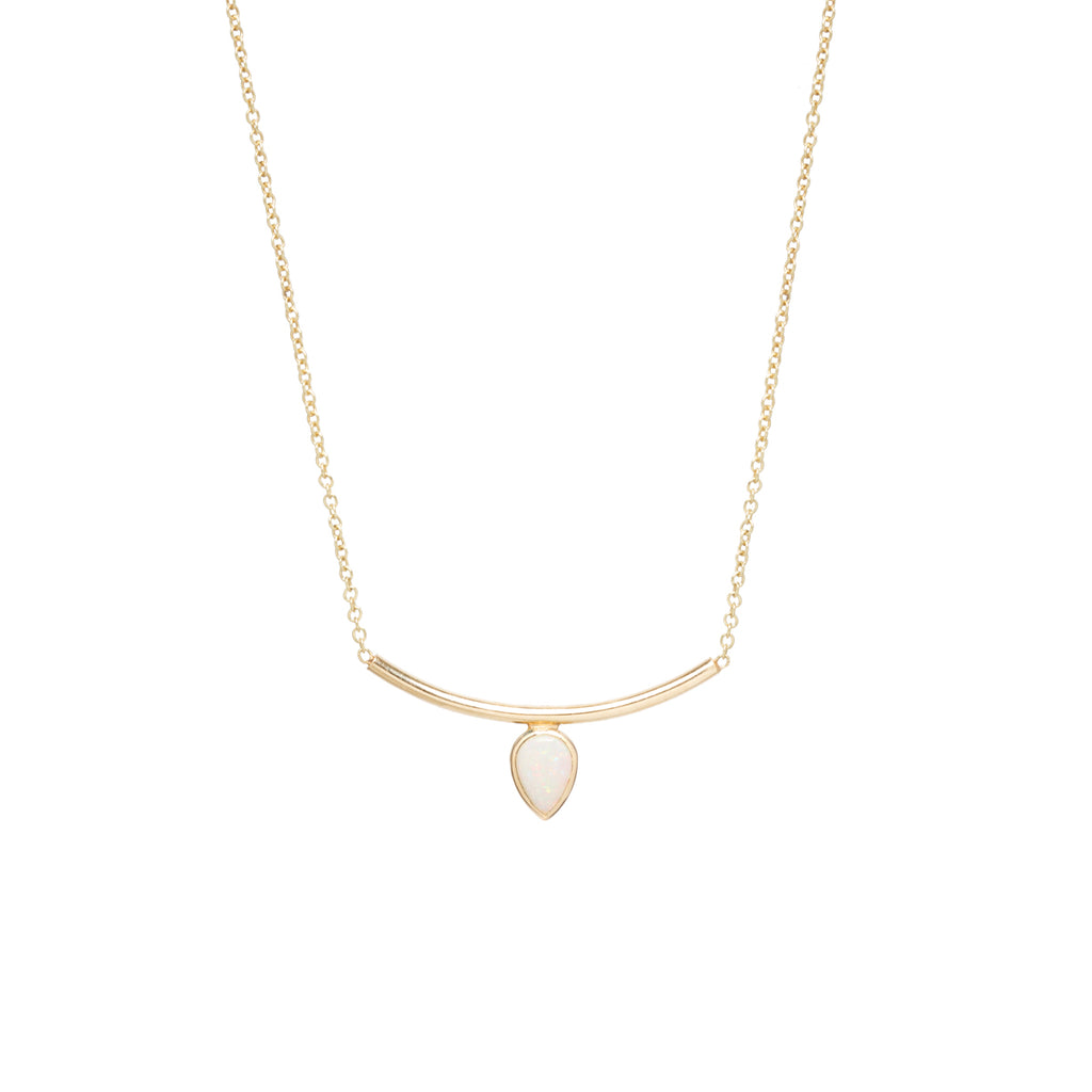 14k pear opal curved bar necklace