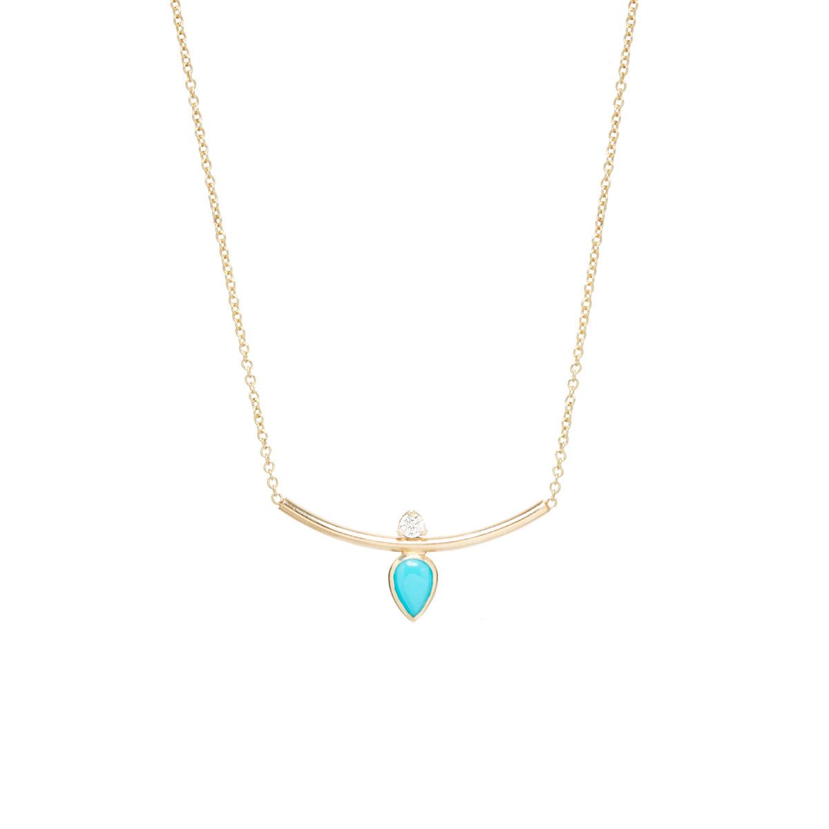 14k pear turquoise & diamond curved bar necklace