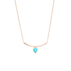 14k pear turquoise curved bar necklace