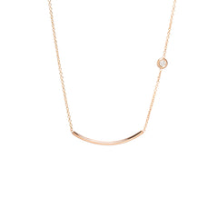 Zoë Chicco 14kt Rose Gold White Diamond Curved Bar Necklace