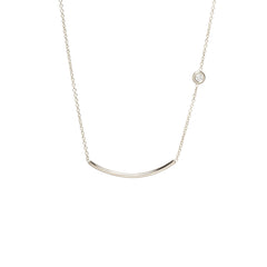 Zoë Chicco 14kt White Gold White Diamond Curved Bar Necklace
