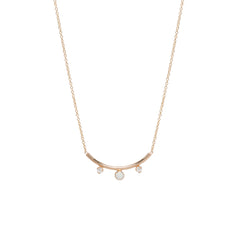 14k opal & diamond curved bar necklace
