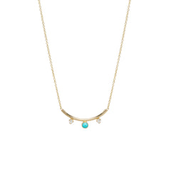 14k turquoise & diamond curved bar necklace
