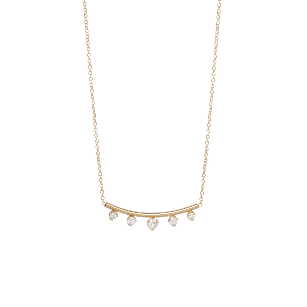 14k 5 prong diamond curved bar necklace