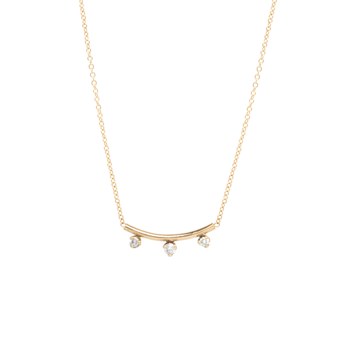 14k 3 prong diamond curved bar necklace