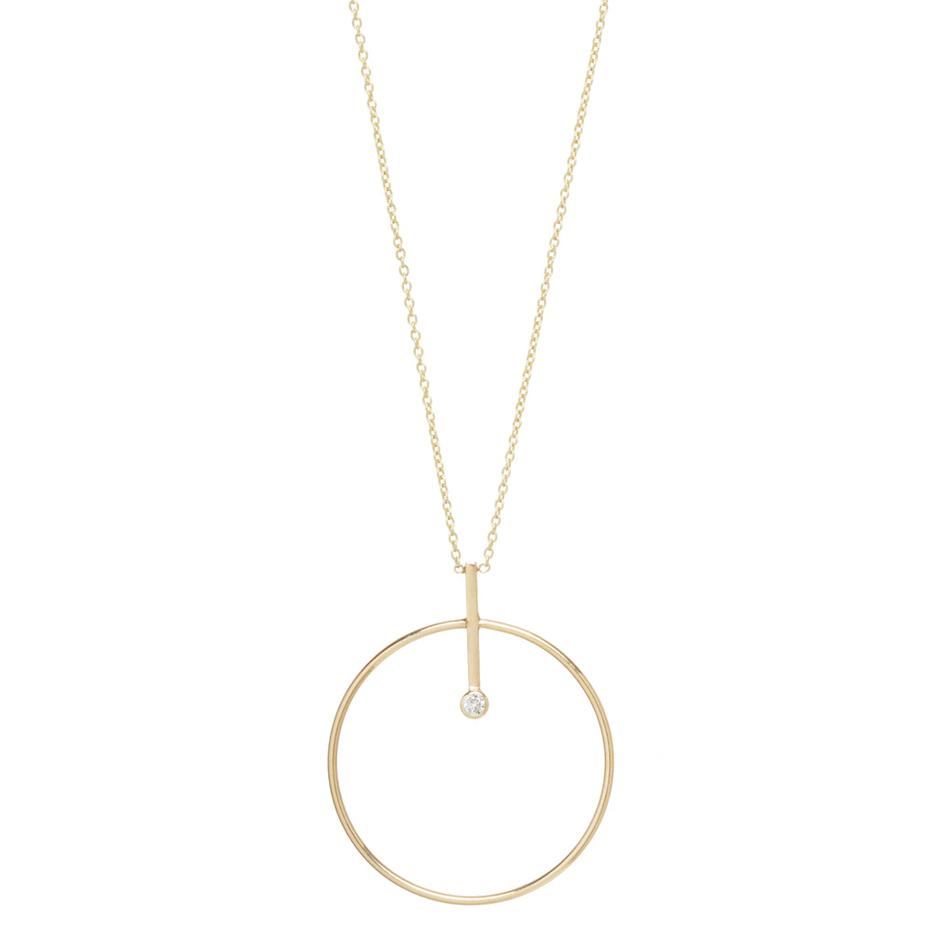 Zoë Chicco 14kt Yellow Gold Bezel Diamond Large Circle and Bar Necklace