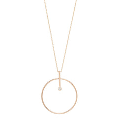 Zoë Chicco 14kt Rose Gold Bezel Diamond Large Circle and Bar Necklace