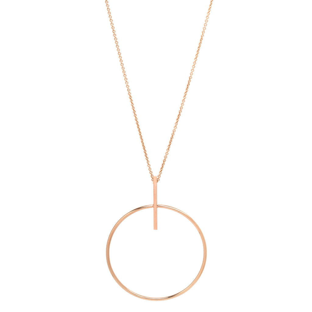 14k long necklace with an extra large circle and bar