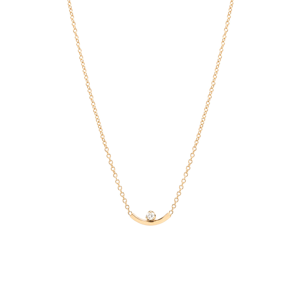 14k Curved Bar Prong Diamond Necklace