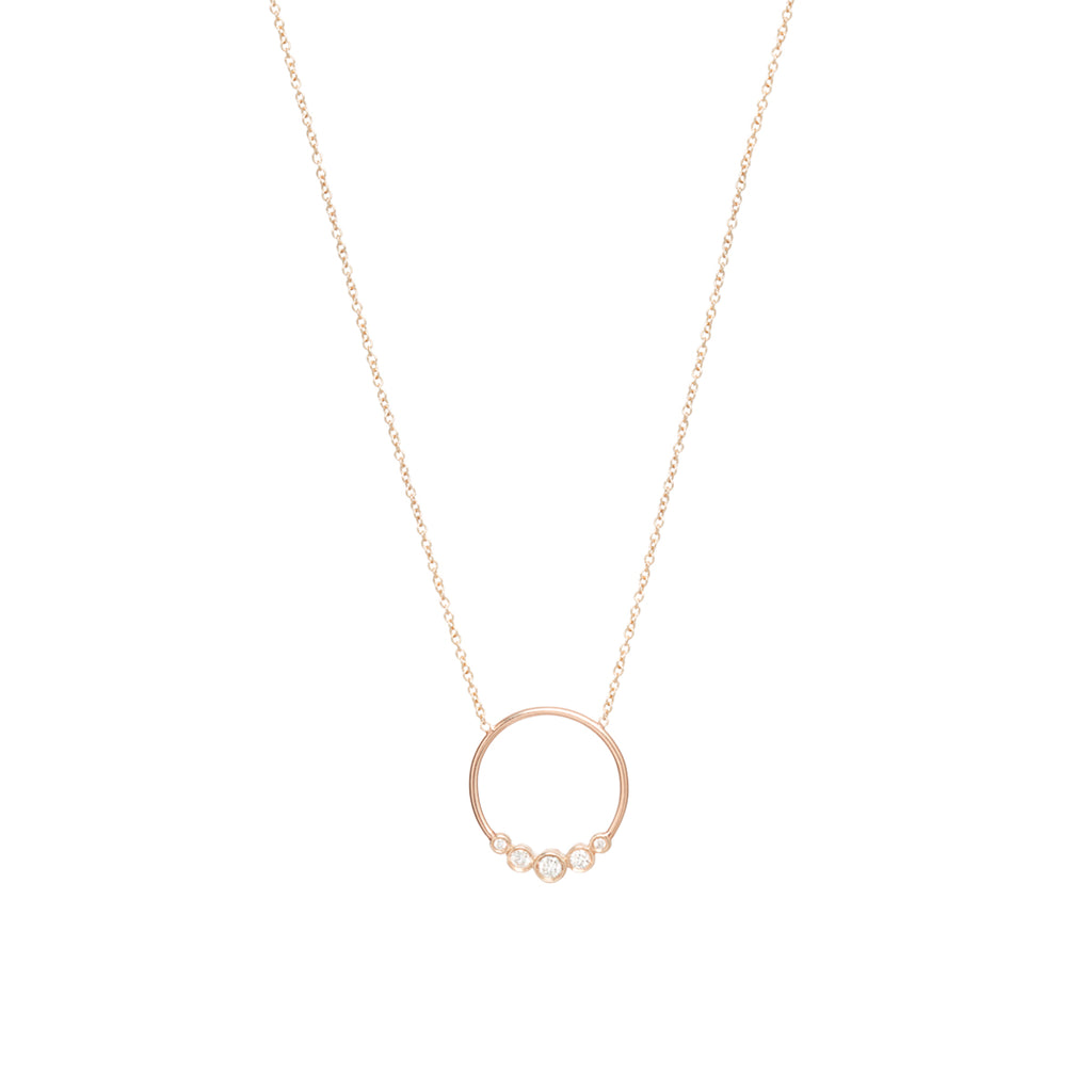 Zoë Chicco 14kt Yellow Gold Graduated 5 Bezel Set Diamond Circle Necklace