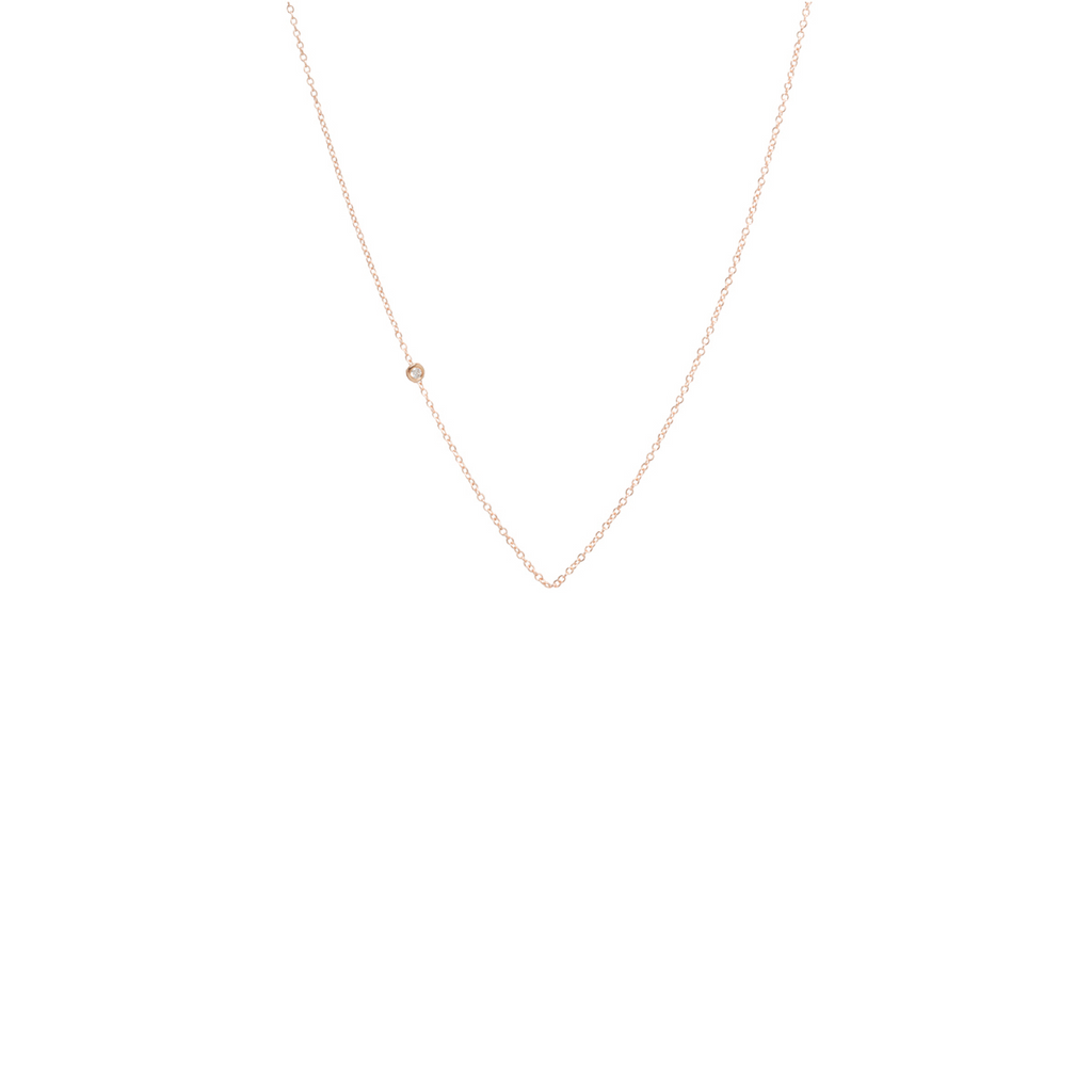 14k tiny floating diamond chain