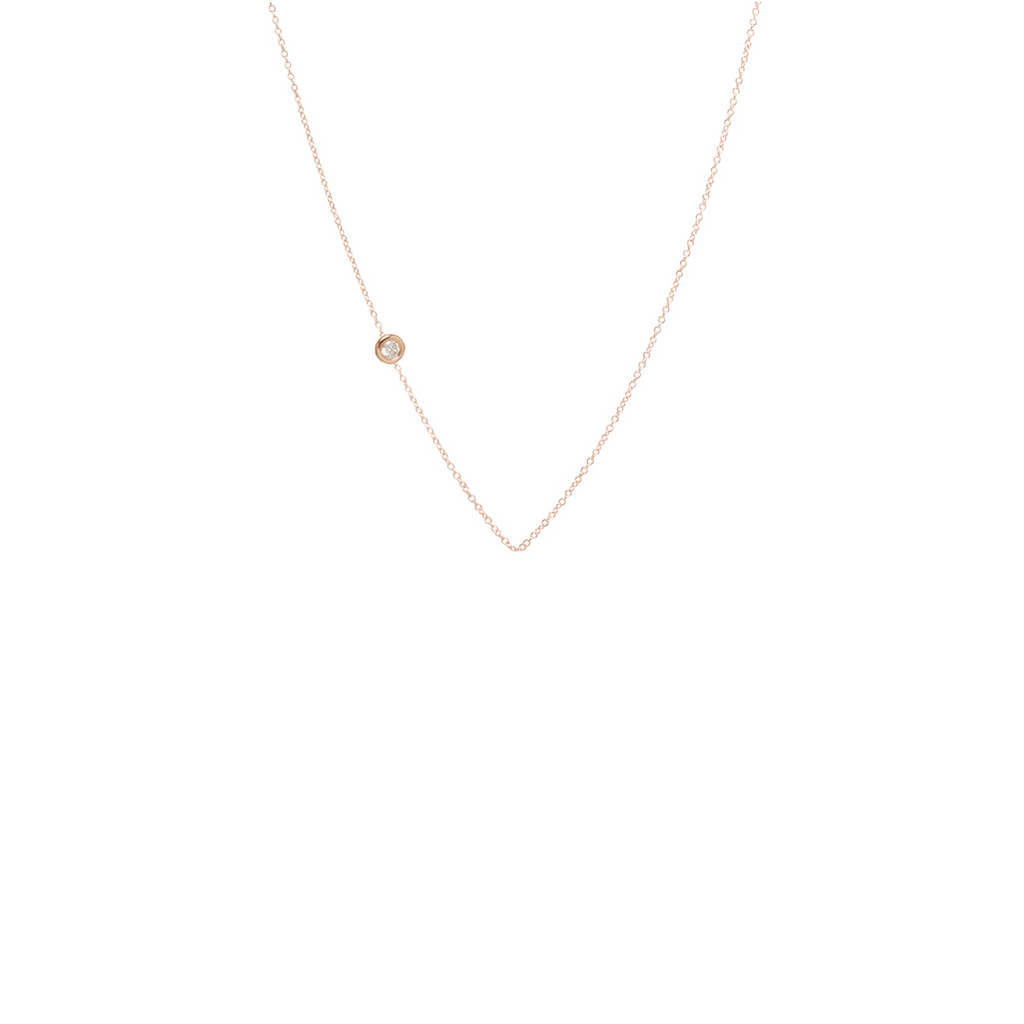 14k medium floating diamond chain