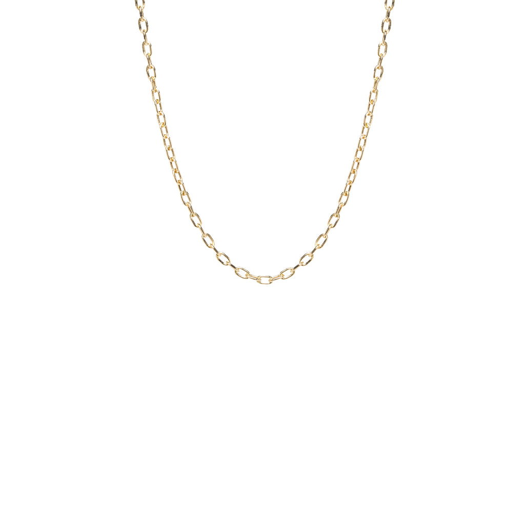 14k gold small square oval link chain necklace