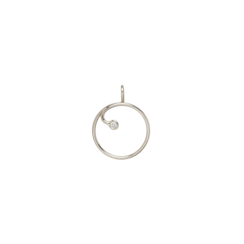 14k gold circle charm holder with a diamond