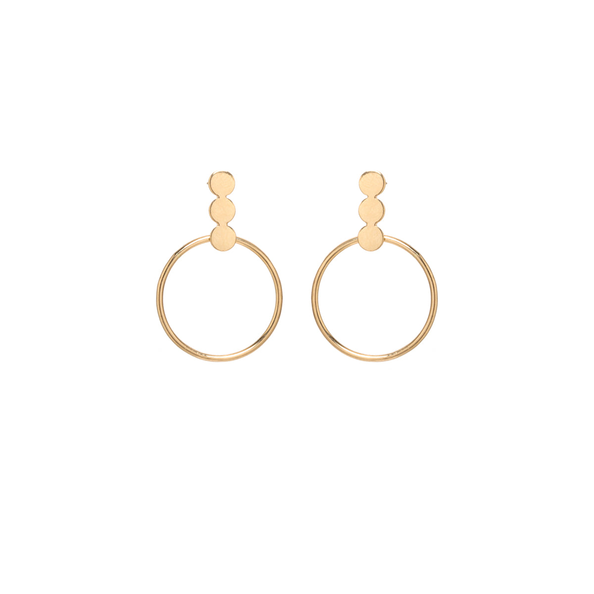 Zoë Chicco 14kt Yellow Gold 3 Disc and Circle Post Earrings