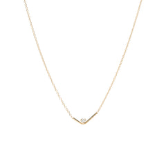 14k check mark Bar Prong Diamond Necklace