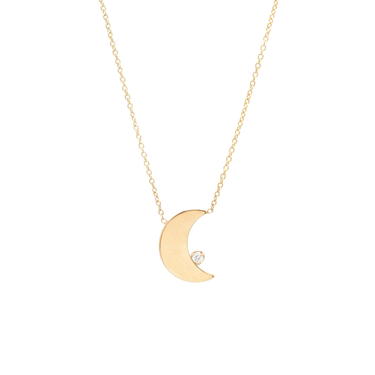 14k vertical crescent moon & prong diamond