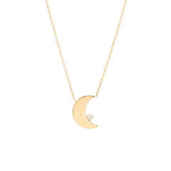 14k vertical crescent moon with 3 prong diamonds