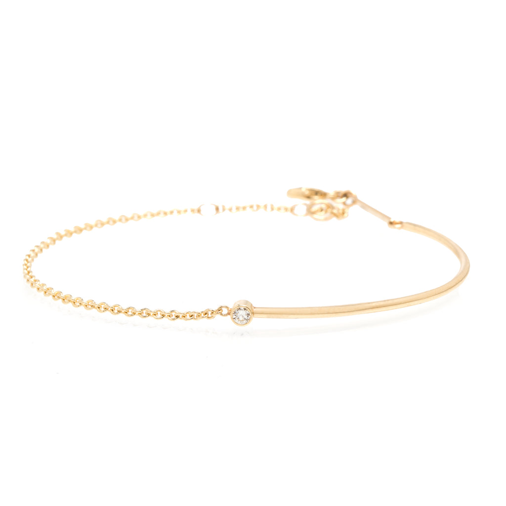 Zoë Chicco 14kt Yellow Gold Bezel Set White Diamond Gold Wire and Chain Bracelet