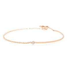 Zoë Chicco 14kt Rose Gold Bezel Set White Diamond Gold Wire and Chain Bracelet