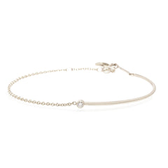 Zoë Chicco 14kt White Gold Bezel Set White Diamond Gold Wire and Chain Bracelet