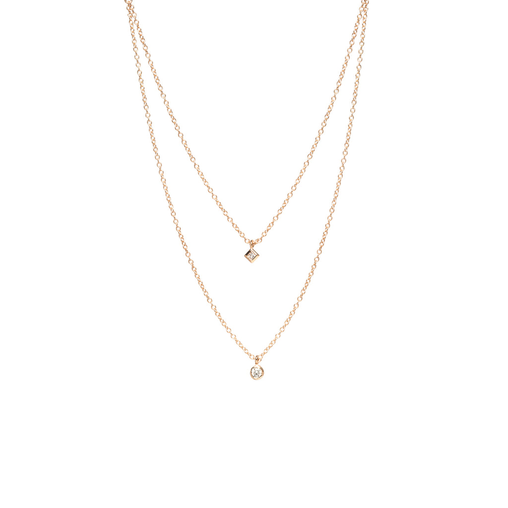 14k gold layered round and princess diamond necklace