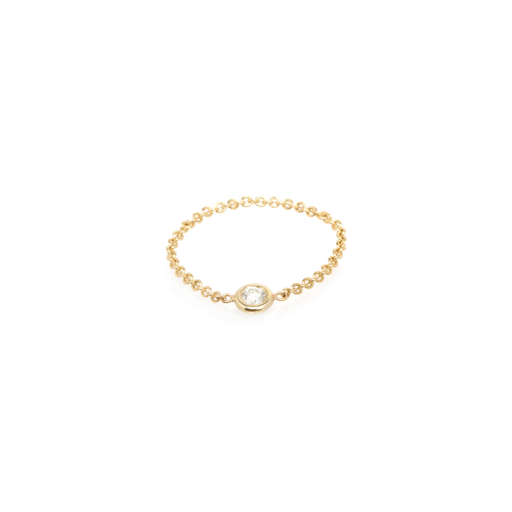 14k small single floating diamond chain ring