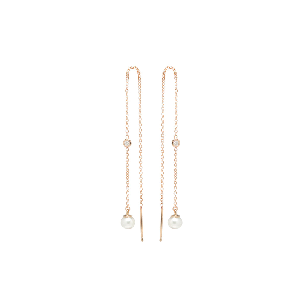 14k cable chain threader earrings with floating diamonds and pearls