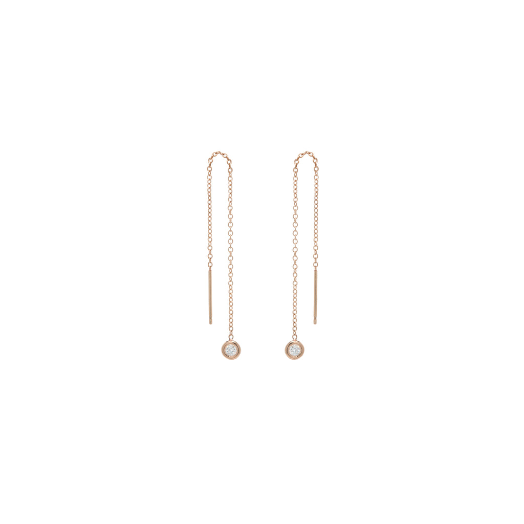 14k  floating white diamond threaders earrings