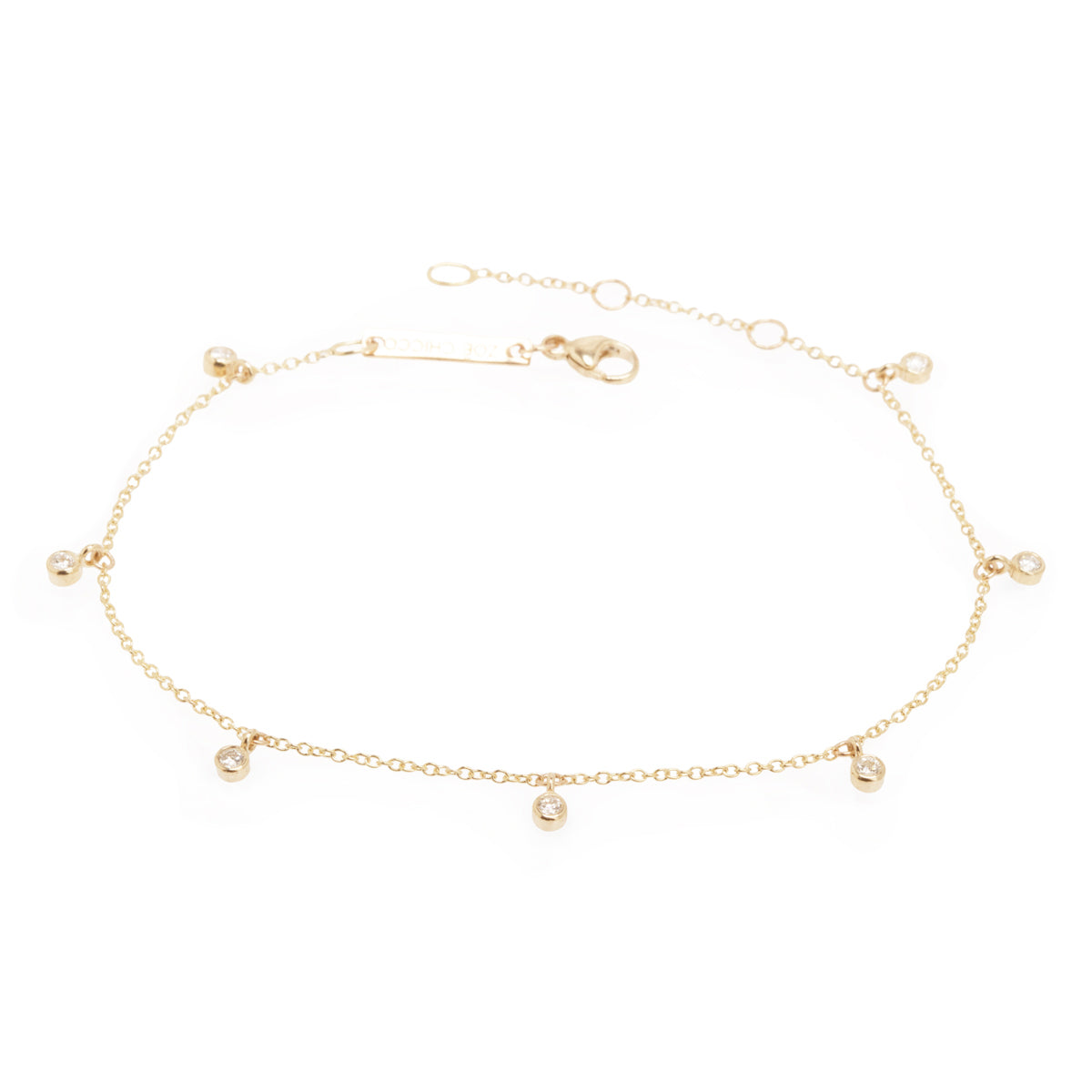 14k tiny 7 dangling diamond anklet