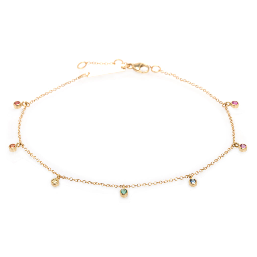 14k 7 bezel rainbow sapphires dangle bracelet